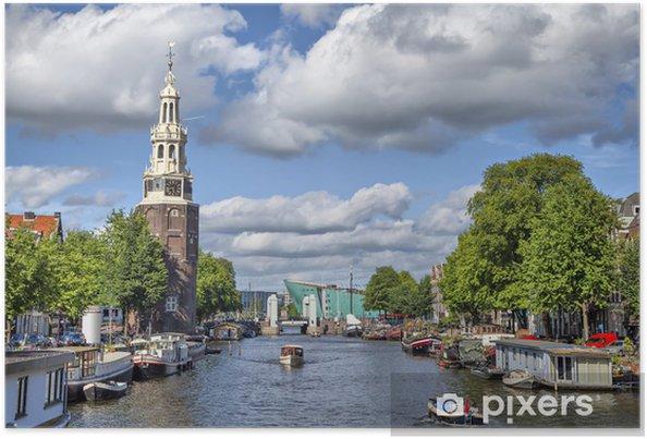 Plakat Widok na słynnej wieży Munttoren - Europa