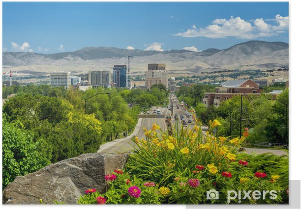 Plakat Widok w dół główny Steet z Boise Idaho Capital - Ameryka