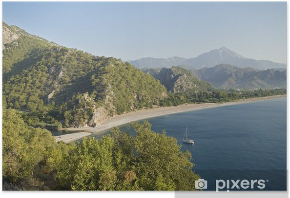 Plakat Widok z lotu ptaka Cirali Beach, Antalya Turcja. - Europa