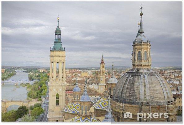 Plakat Widok z lotu ptaka katedry Bazylice El Pilar w Saragossie, w Hiszpanii - Europa