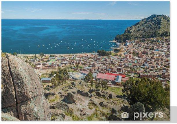 Plakat Widok z lotu ptaka miasta Copacabana na wybrzeżu jeziora Titicaca, Boliwia - Inne Inne