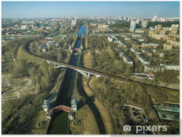 Plakat Widok z lotu ptaka śluzy na kanale Moskwie -
