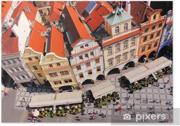 Plakat Widok z lotu ptaka Starego Miasta w Pradze, Republika Czeska - Miasta europejskie