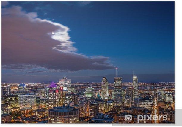 Plakat Widok z lotu ptaka w nocy Montreal panoramę - Ameryka