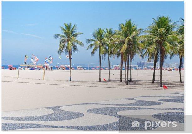 Plakat Widok z plaży Copacabana z palmami i mozaika chodniku - Miasta amerykańskie
