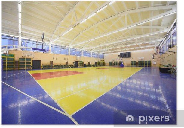 Plakat Widok z rogu wewnątrz oświetlonej sali gimnastycznej szkoły niebiesko-żółty - Budynki prywatne
