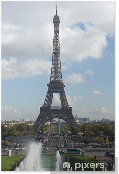 Plakat Widok z wieży Eiffla na fontannach, Paris - Miasta europejskie