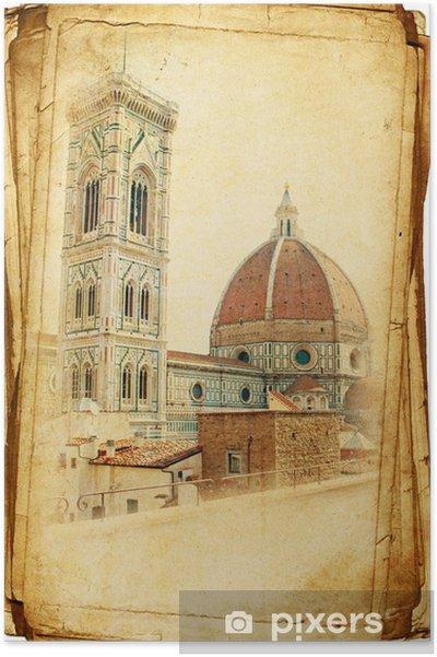 Plakat Widoki Florencji w stylu vintage, jak pocztówki - Miasta europejskie