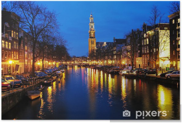 Plakat Wieczorny widok na zachodniej kościoła w Amsterdamie - Miasta europejskie