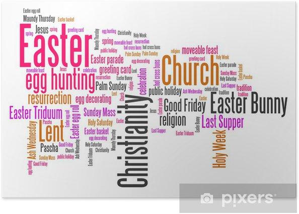 Plakat Wielkanoc - Słowo chmura ilustracji - Znaki i symbole