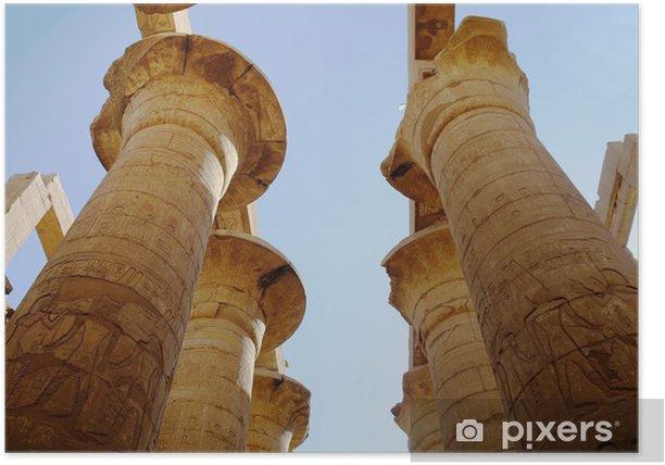 Plakat Wielkiej hypostyle w świątyniach w Karnaku .luxor, Egipt - Afryka
