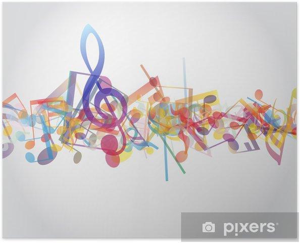 Plakat Wielobarwne nuty - Muzyka