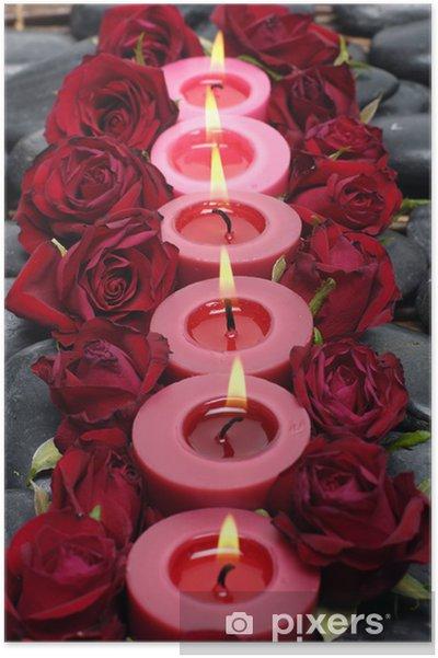 Plakat Wiersz świeczki Z Czerwoną Różą I Kamienia