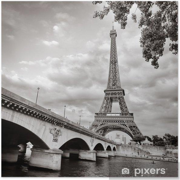 Plakat Wieża Eiffla widok z rzeki kwadratowym formacie seine - Tematy