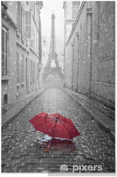 Plakat Wieża Eiffla widok z ulicy w Paryżu -