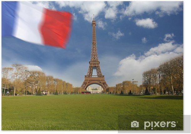 Plakat Wieża Eiffla z banderą Francji w Paryżu - Miasta europejskie