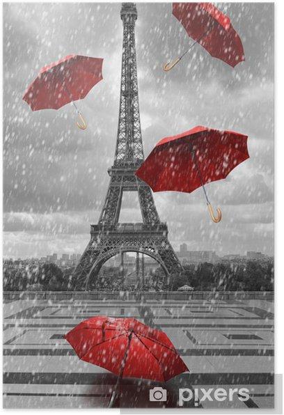 Plakat Wieża Eiffla z latającymi parasolami. -