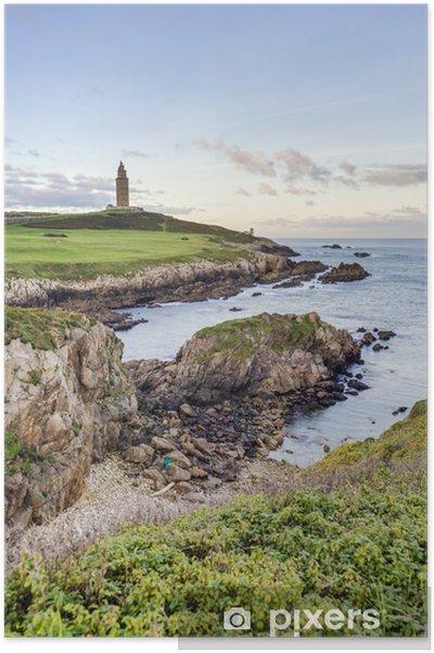 Plakat Wieża Herkulesa w A Coruña, w Galicji, w Hiszpanii. - Europa
