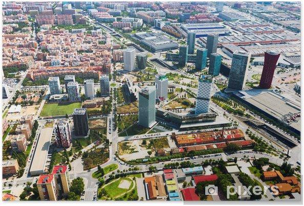 Plakat Wieżowce w dzielnicy Wzgórze Montjuïc. Barcelona - Pejzaż miejski