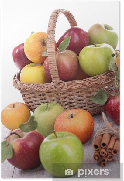 Plakat Wiklinowy kosz z jabłkami - Owoce