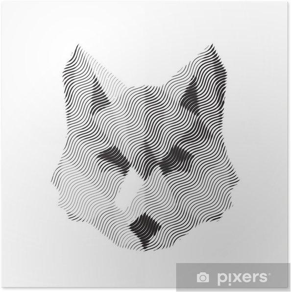 Plakat Wilk wygrawerowany znak illyustrat zwierząt wektor -