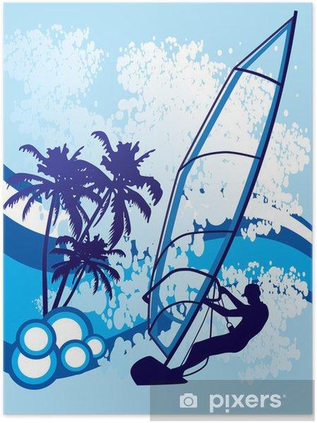 Plakat Windsurfing tło wektor - Sporty wodne