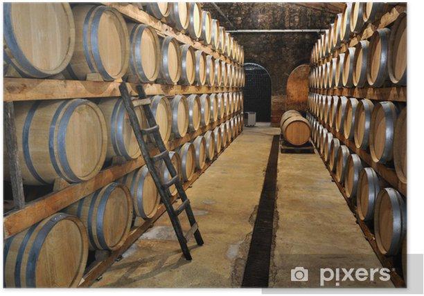 Plakat Winiarnia beczki wina - Przemysł ciężki