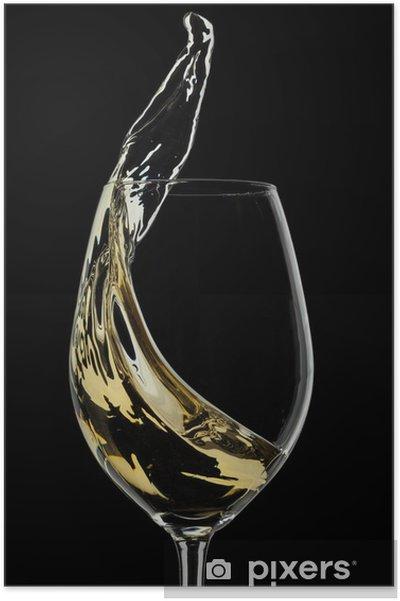 Plakat Wino białe splash na czarnym tle - Tematy
