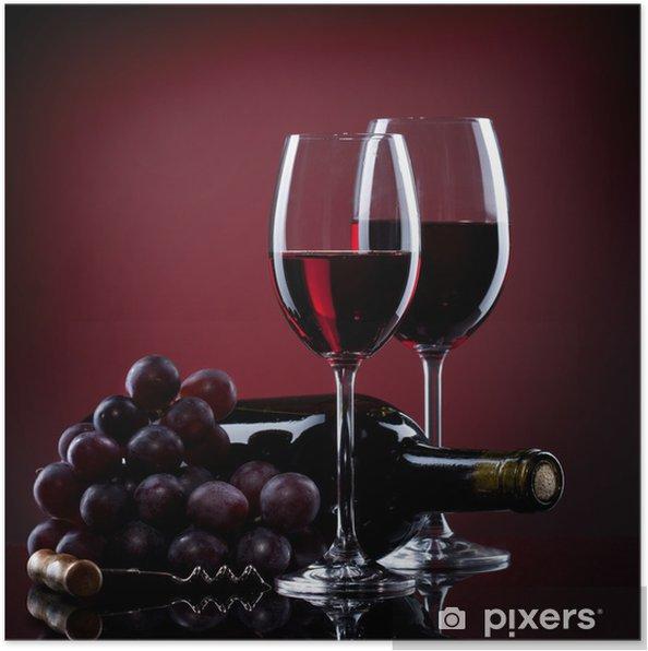 Plakat Wino w okulary z winogron i butelki na czerwono - Kulinaria