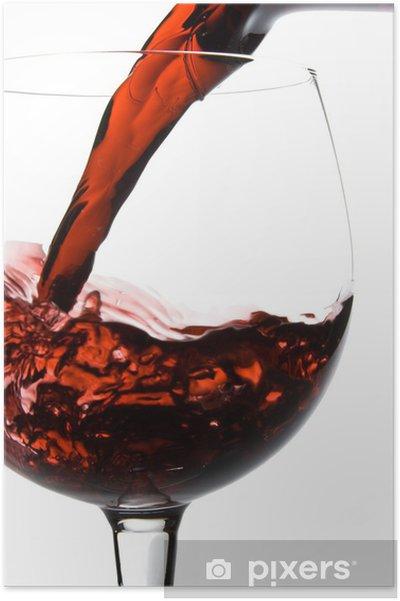 Plakat Wino wlewanie do szkła z karafki - Alkohol