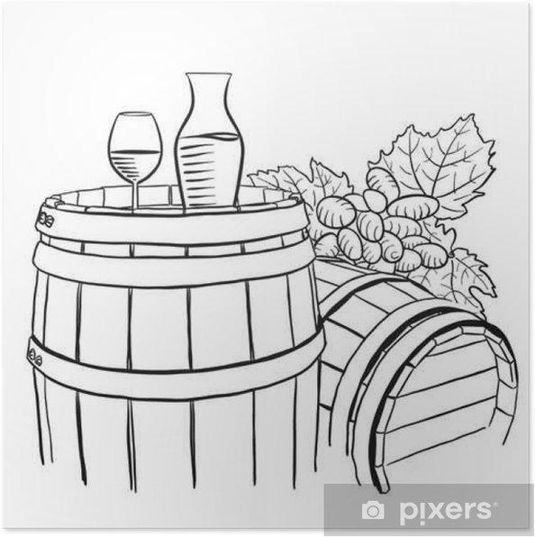 Plakat Winogrona, Karafka i szklanka winorośli na drewnianej beczce - Zasoby graficzne