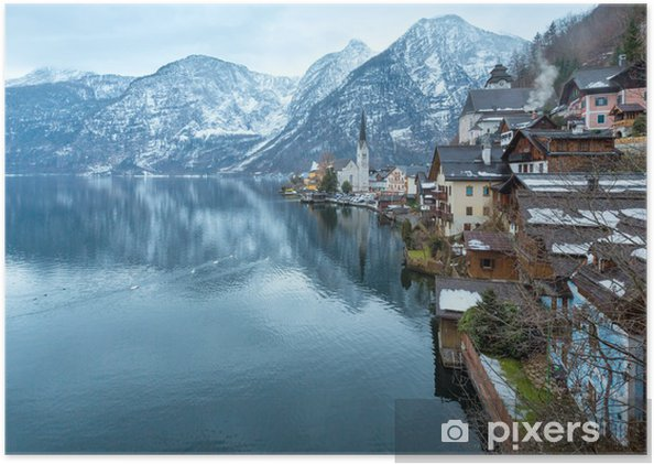 Plakat Winter view of Hallstatt (Austria) - Pory roku