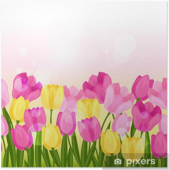 Plakat Wiosenne Kwiaty Tulipanów Szwu Poziomą Granicę