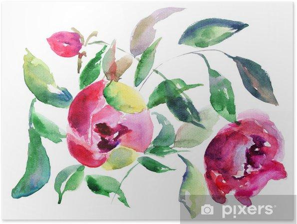 Plakat Wiosna Peony kwiaty - Kwiaty
