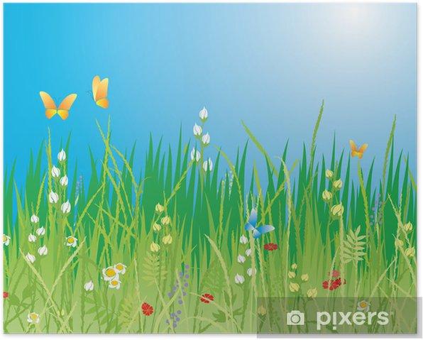 Plakat Wiosna Tło. Kwiaty, motyle i trawy - Vector - Kwiaty