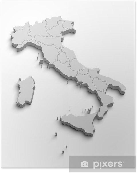 Plakat Włochy biały mapa - Finanse