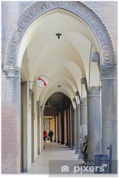 Plakat Włochy Bologna typowy portyk. - Europa