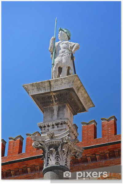 Plakat Włochy, Ravenna, statua Vitale w ludzi kwadratowych. - Europa