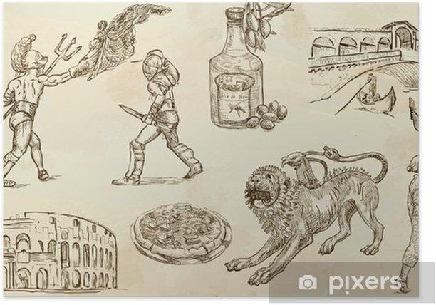 Plakat Włochy - ręcznie rysowane ilustracje zamienione na wektory - Europa
