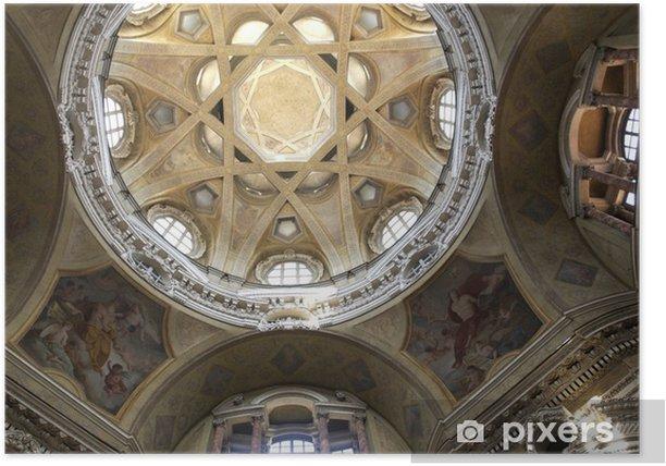 Plakat Włochy, Turyn, kościół św Wawrzyńca - Europa