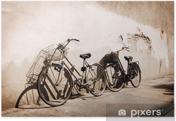 Plakat Włoski rowery starym stylu oparty o ścianę - Tematy