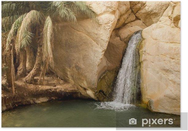Plakat Wodospad w oazie górskiej Chebika w Tunezji - Woda