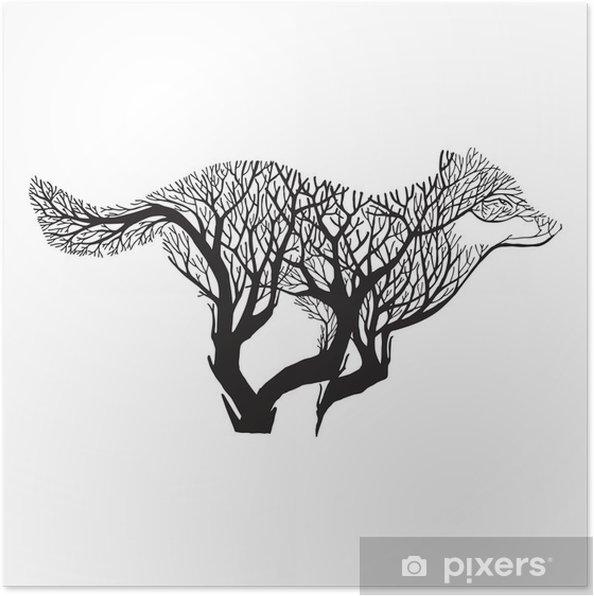 Plakat Wolf Run sylwetka podwójna mieszanka ekspozycji Drzewo rysunek tatuaż wektor - Zwierzęta