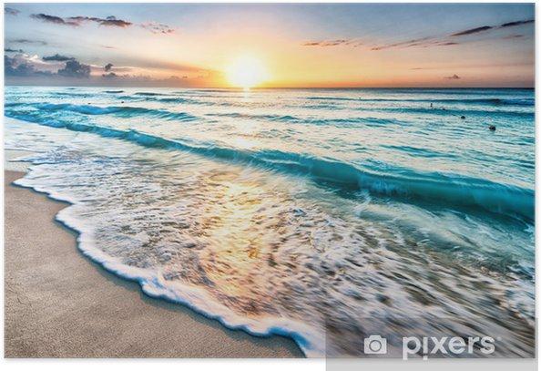 Plakat Wschód słońca na plaży w Cancun - Plaża i tropiki