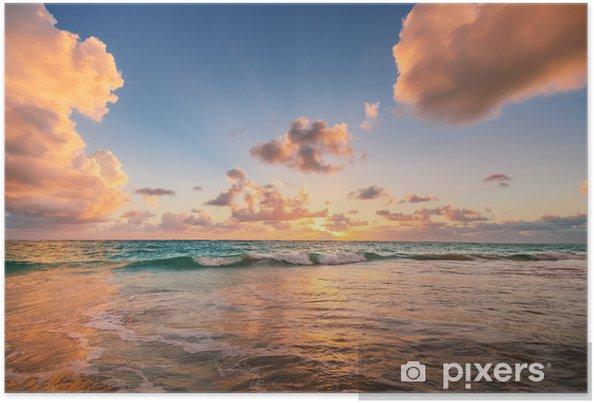 Plakat Wschód słońca na plaży w Morzu Karaibskim - Style