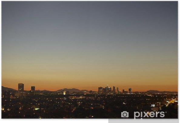Plakat Wschód słońca z zamglenia ciepła panoramę Los Angeles Downtown - Tematy