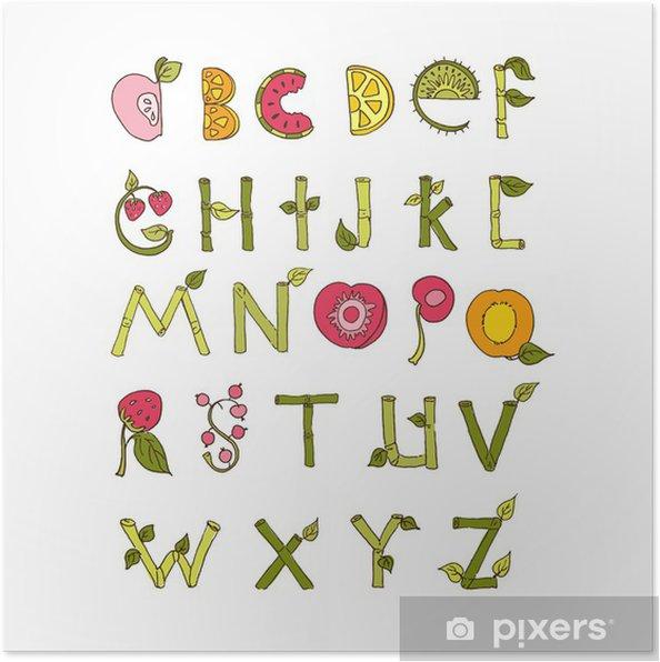 Plakat Wyciągnąć rękę alfabet - Natura i owoce Elements. Czcionki Doodle. - Znaki i symbole