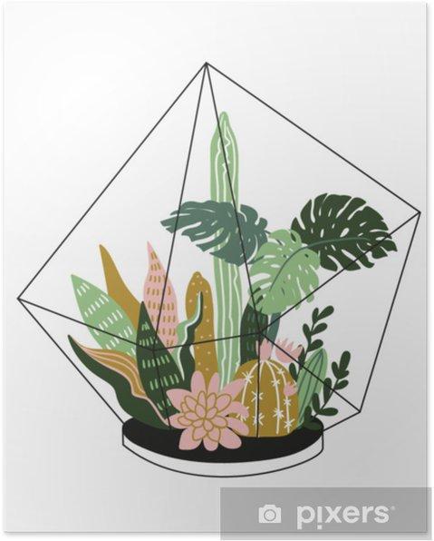 Plakat Wyciągnąć Rękę Zawarte Tropikalnych Roślin Domowych Ilustracja Stylu Skandynawskim Nowoczesny I Elegancki Wystrój Domu Wektor Wzór Wydruku Z
