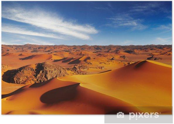 Plakat Wydmy na Saharze, Tadrart, Algeria - Pustynia