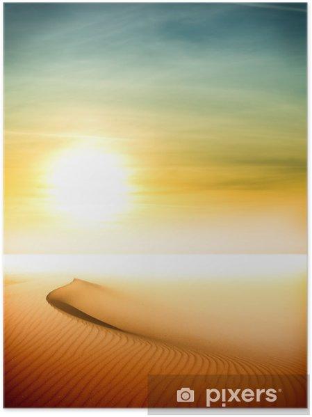 Plakat Wydmy na zachód słońca na Saharze - Pustynie
